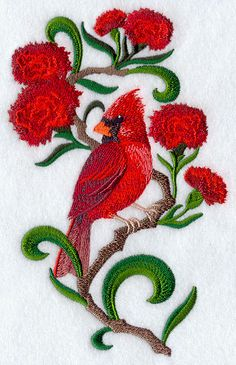 Ohio Cardinal and Scarlet Carnation Medley design (F2323) from www.Emblibrary.com