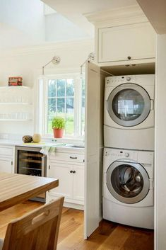 Laundry Nook In Kitchen - how to hide washer and dryer in kitchen - DIY Kitchen . Laundry Nook In Kitchen – how to hide washer and dryer in kitchen – DIY Kitchen Laundry Nook Id Laundry In Kitchen, Laundry Nook, Laundry Dryer, Laundry Room Organization, Laundry Room Design, Washer Dryer Closet, Kitchen Design, Apartment Washer And Dryer, Laundry Cupboard