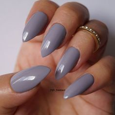 Aug 2016 - Grey stiletto nails Nail art Nail designs by FifeFantasiNails Almond Gel Nails, Almond Nails Designs, Nail Designs, Acrylic Nails Almond Short, Long Almond Nails, Trendy Nails, Cute Nails, Pointy Nails, Oval Nails