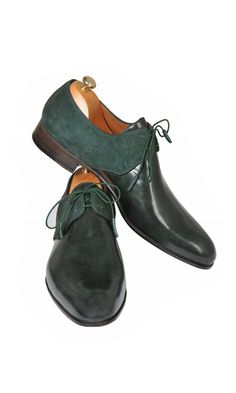 fc75649dbf4e9 Handmade Green Leather and Suede Men Shoes
