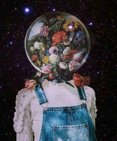 Head in space phone background. surrealista Image about art in Fondos de pantalla by Nizita Quintero Art Inspo, Kunst Inspo, Inspiration Art, Art And Illustration, Instagram Collage, Foto Instagram, Art Du Collage, Collage Design, Art Collages