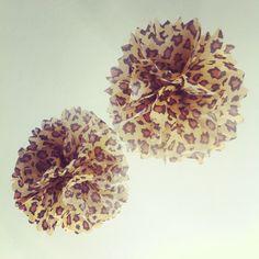Leopard print pompoms. Need zebra, hot pink  & light pink too.
