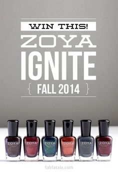 Enter to win the newly released Zoya Ignite Fall 2014 collection!