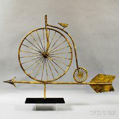 Molded Gilt Copper Highwheel Bicycle Weathervane