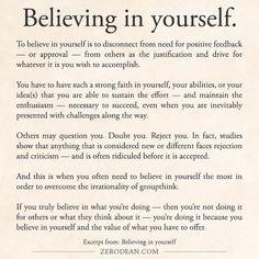Excerpt from: Believing in yourself