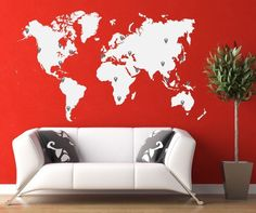 "Amazon.com - Vinyl Wall Decal Sticker World Map with Pin Drops #873m 40'' tall 70"" wide"
