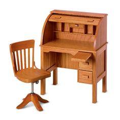 American Girl Original Kittredge's Wooden Roll Top Desk and Swivel Chair Retired Wooden Office Chair, Wooden Desk, Office Chairs, Doll Furniture, Dollhouse Furniture, Furniture Chairs, Wooden Furniture, New American Girl Doll, Girl Desk