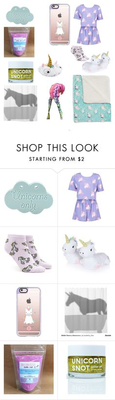"""""""unicorn night routine"""" by dxddy-hannah ❤ liked on Polyvore featuring Boohoo, Forever 21, Topshop, Casetify and Accessorize"""