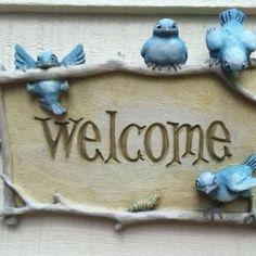 Welcome to the Blue Bird Cottage. Lampe Decoration, Pintura Country, Totems, Cottage Style, White Cottage, Bird Feathers, Clay Art, Bird Houses, Ceramic Art