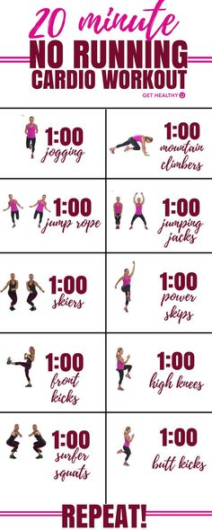 Gym & Entraînement Description Check out this 20-minute high-intensity calorie burning cardio workout that involves NO running! Win-win! Torch calories and burn fat with this high energy HIIT style workout.