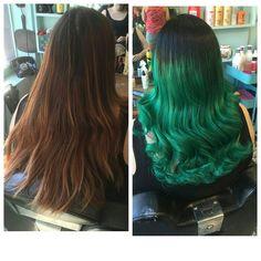 New hair!  #greenhair #contrastroots #vintagewaves #shoreditch #salonlife #mermaidhair #beforeandafter #londonhair