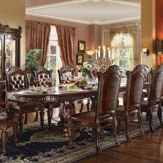 Acme Furniture Vendome Rectangular Double Pedestal Dining Table   ACM923 1