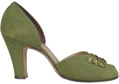 1940s Olive suede pumps by Delman.