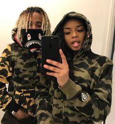 Bape gear together Cute Black Couples, Black Couples Goals, Cute Couples Goals, Couple Goals Relationships, Relationship Goals Pictures, Couple Relationship, Matching Couple Outfits, Matching Couples, Couple Noir