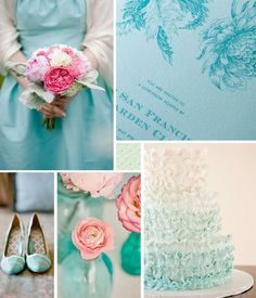 Collage of various aqua colored wedding objects, including invitations and shoes.