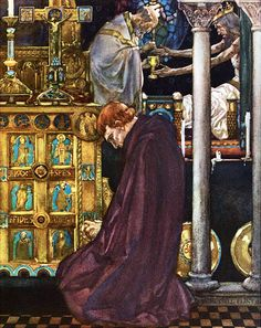 "When the mass was done the priest took Our Lord's body ... ""Le morte d'Arthur"" (1910-11) illustrated by William Russell Flint"