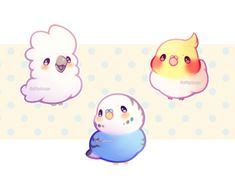 chirp chirp Those lil borbs will be available as acrylic charms soon on Etsy! Cute Kawaii Animals, Cute Animal Drawings Kawaii, Cute Baby Animals, Cute Drawings, Bird Drawings, Kawaii Chibi, Kawaii Art, Anime Animals, Cute Doodles