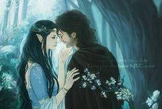 Beren and Luthien from Tolkien's Silmarillion.  Ahhh, going back to good ol' Tolkien! These two are the main characters of the Tale of Luthien, a sad story where an Elf maiden falls in love with a mortal man. READ IT.  Art by: http://lleayhe.deviantart.com/