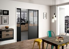 Porte coulissante avec châssis à galandage modèle Atelier Sogal Everything Is Illuminated, Apartment Living, Living Room, Pocket Doors, Home Studio, Sliding Doors, Building Design, Small Spaces, Family Room