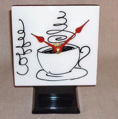 Desk or Shelf Clock  Black and White Coffee Cup by makingtimetc, $29.00