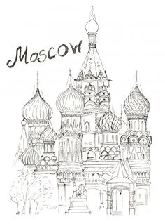 Download this amazing coloring page, and enjoy yourself! #Moscow #Russia