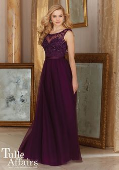 View Dress - Mori Lee TULLE AFFAIRS FALL 2016 Collection: 156 - Tulle with Beaded Embroidery and Satin Waistband (Long) | MoriLee Evening,Prom,Bridesmaids