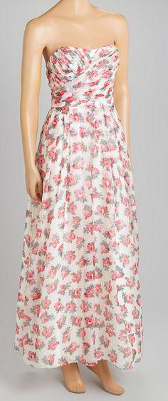 White & Pink Floral Gathered-Waist Silk Gown
