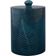 A stunning stone canister etched with a delicate leaf. Nature's beauty for your home. Enchanting!