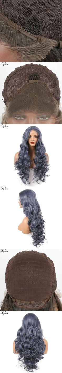 "Sylvia Long Bouncy Curly Wig Dark Gray Blue Heat Resistant Synthetic Lace Front Wigs 20""-26"" In Stock Free Shipping Middle Part"