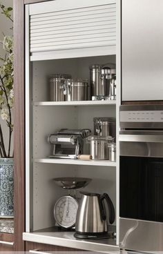 65 the small kitchen appliance storage ideas small kitchen guides 2019 page 40 Kitchen Appliance Storage, Diy Kitchen Storage, Appliance Garage, Kitchen Room Design, Interior Design Kitchen, Ikea Ektorp, New Kitchen Cabinets, Soapstone Kitchen, Kitchen Countertops