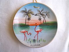 Florida, Flamingos, Vintage, Souvenir, Plate, Home Decor,  Kitsch, Retro, Hand Painted, Made in Japan via Etsy
