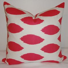 Hot Pink & White Ikat Pillow Covers Decorative by HomeLiving