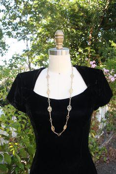 Vintage long necklace art deco style brass by vintagekurios