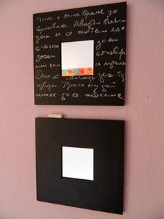 Espejo Ikea pintado con pizarra o chalk paint #chalkpaint #pizarra #pizarron