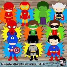 Superhéroe cumpleaños Party Supplies carácter por KawaiiKidsDesign