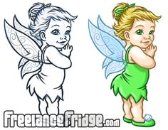 Tinkerbell Vector | Baby Tinkerbell Sketch & Color Version