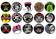 Rockabilly Psychobilly band badges/buttons set of 15!   #themeteors #straycats #thecramps #rockabillybadgesbuttons #psychobilly #rocknroll #punkrock #rockabillypatches