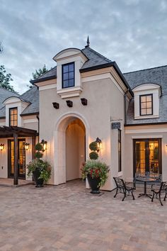 New house luxury exterior paint colors Ideas Style At Home, French Style Homes, Country Style Homes, House Paint Exterior, Exterior Paint Colors, Exterior House Colors, Exterior Design, Exterior Trim, Stucco Colors