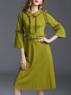 Green Paneled Polyester Simple Plain Midi Dress