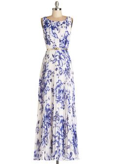 Lunch at the Lagoon Dress - Blue, Floral, Pleats, Belted, Special Occasion, Maxi, Sleeveless, Best, Scoop, Chiffon, Sheer, Woven, Long, Whit...