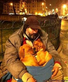 Homeless man with stray puppies