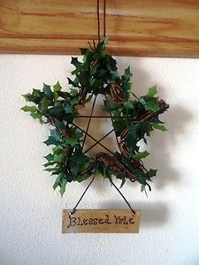 Mouse over image to zoom    Sell one like this  'Blessed Yule' Rustic Vine & Holly Pentagram. Handmade decoration.