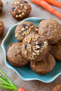 These healthier carrot cake muffins are tender, moist and packed full of nutritious ingredients. Now you can feel good about eating cake for breakfast!