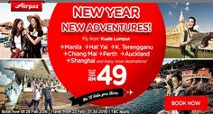 Bored with your routine? go out and travel the world ! New year new Adventures ! Search for new experience across the Asia with AirAsia promotion on Airpaz. Take your friends with you in your new adventure, fly from Kuala Lumpur to Manila, Hat Yai, Kuala Terengganu, Chiang Mai, Perth, Auckland, Shanghai and many more destination with all in fare from RM 49. Book now ; www.airpaz.com