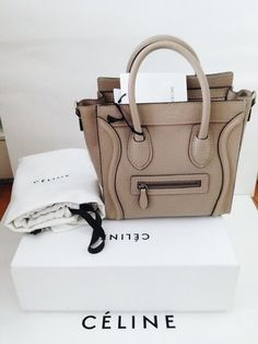 049221b414 Celine Nano Nude Color Bag Celine Nano Luggage Tote in baby bull calf  leather with suede interior lining Celine Nano Leather Cross body Tote  Handbag is both ...
