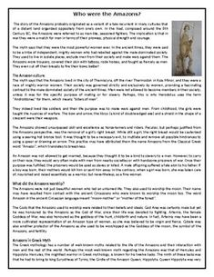 This Reading Comprehension worksheet is suitable for higher elementary to proficient ESL learners or native English speakers. The text describes myth of the Amazons and any real-life correlations they may have with the Pazyryk tribe of Siberia. After Reading Comprehension Worksheets, Amazons, Esl, Speakers, Learn English, Lesson Plans, Teaching Resources, Real Life, Texts