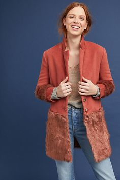 Slide View: 1: Faux Fur-Trimmed Tailored Coat