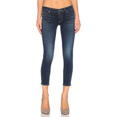 Hudson Jeans Kirsta Skinny Denim ($198) ❤ liked on Polyvore featuring jeans, blue skinny jeans, frayed jeans, skinny fit jeans, denim skinny jeans and blue jeans