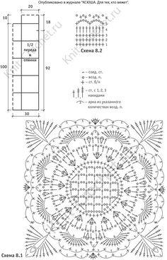 Выкройка, схемы узоров с описанием вязания крючком платья-туники размера 46-48.