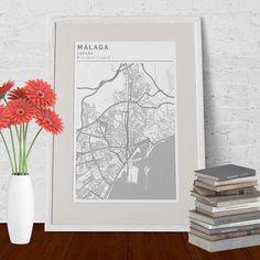 Lámina de #malaga con estilo Clean. #Mapas con diseño limpio y minimalista. #mapas #citymap #laminasdecorativas #interiordesign #toquedecor #citymaps #interiorismo #creatumapa #poster #interiorstyling #interiordesign #wallart